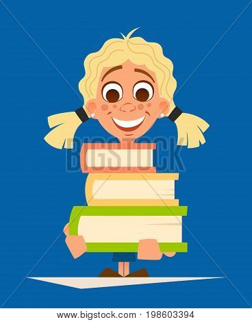 Color vector illustration of happy smile little girl schoolgirl holding pile of books
