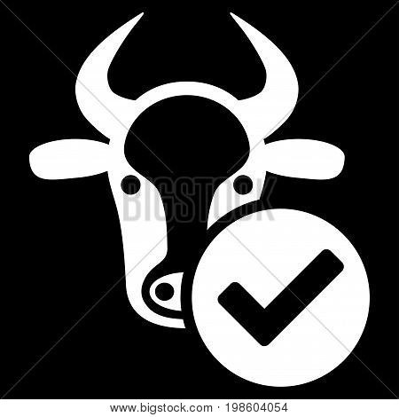 Cow Valid vector icon. Flat white symbol. Pictogram is isolated on a black background. Designed for web and software interfaces.