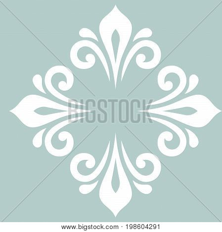 Oriental vector pattern with arabesques and floral elements. Traditional classic light blue and white ornament. Vintage pattern with arabesques