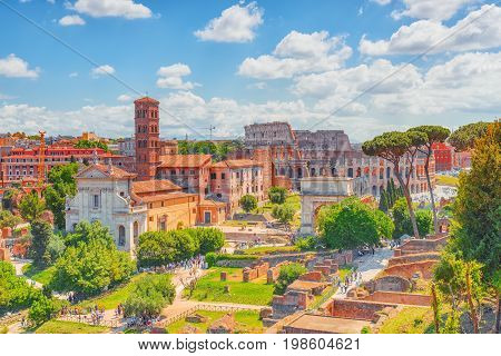 Beautiful Landscape Of The Colosseum In Rome- One Of Wonders Of The World  In The Morning Time. View