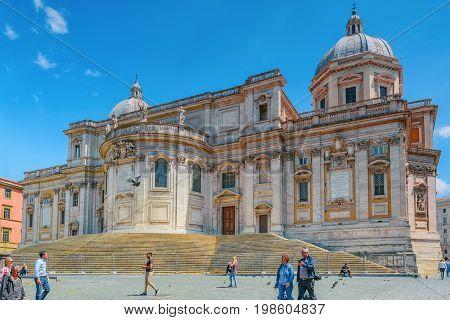 Rome, Italy - May 08, 2017 : Square Of Santa Maria Maggiore  (piazza Di Santa Maria Maggiore)and San