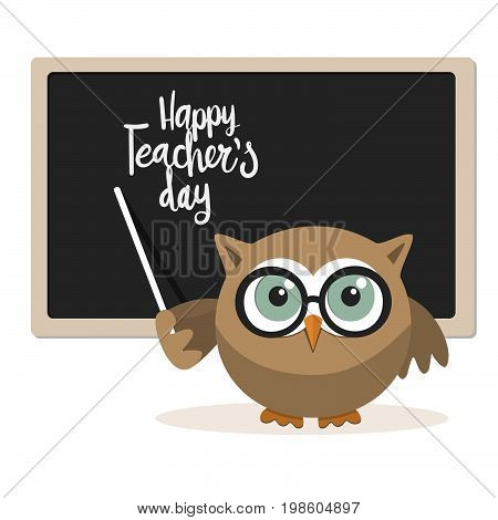 Happy teachers day with owl teacher on a white background