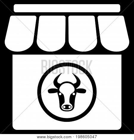 Livestock Farm vector icon. Flat white symbol. Pictogram is isolated on a black background. Designed for web and software interfaces.