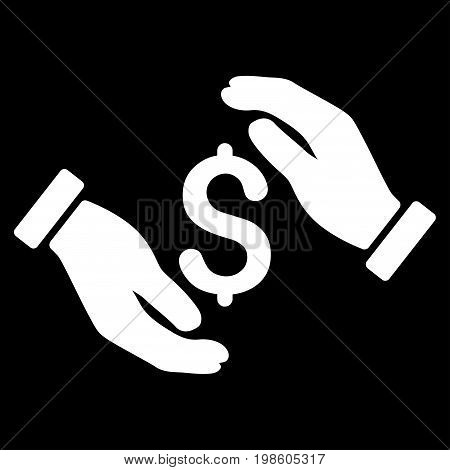 Money Insurance Hands vector icon. Flat white symbol. Pictogram is isolated on a black background. Designed for web and software interfaces.