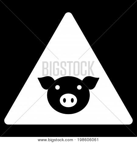 Pig Error vector icon. Flat white symbol. Pictogram is isolated on a black background. Designed for web and software interfaces.