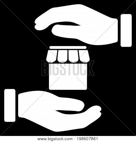 Real Estate Insurance Hands vector icon. Flat white symbol. Pictogram is isolated on a black background. Designed for web and software interfaces.