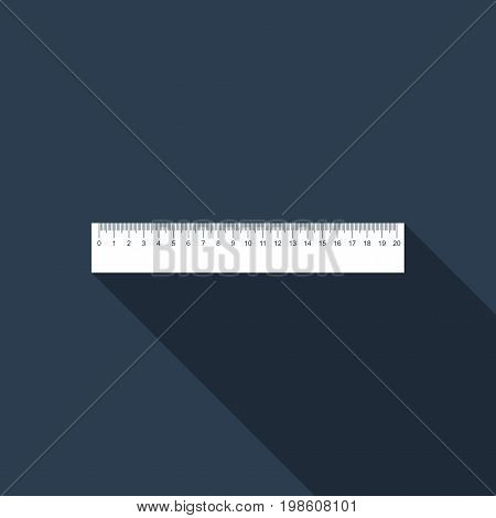 Straightedge symbol. Ruler icon isolated with long shadow. Flat design. Vector Illustration