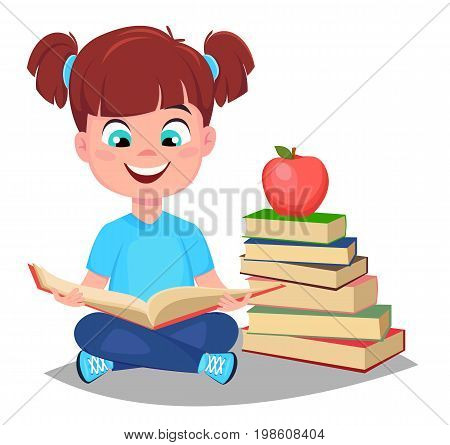 Back to school. Cute girl reading book and sitting near a stack of book. Pretty little schoolgirl. Cheerful cartoon character. Vector illustration