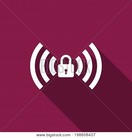 Wifi locked sign icon isolated with long shadow. Password Wi-fi symbol. Wireless Network icon. Wifi zone. Flat design. Vector Illustration