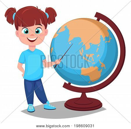 Back to school. Cute girl points to the globe with a pointer. Pretty little schoolgirl. Cheerful cartoon character. Vector illustration