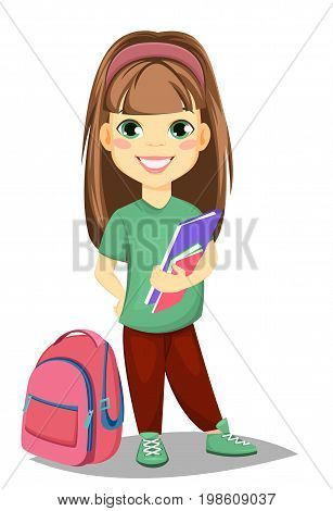 Back to school. Cute girl with book in casual clothes stands near schoolbag. Pretty little schoolgirl. Cheerful cartoon character. Vector illustration