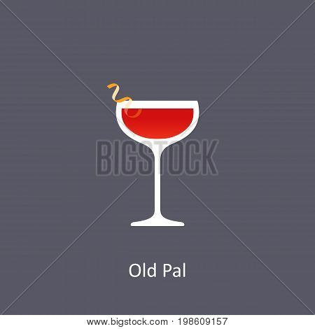 Old Pal cocktail icon on dark background in flat style. Vector illustration