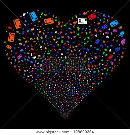 Credit Card fireworks with heart shape. Vector illustration style is flat bright multicolored iconic symbols on a black background. Object love heart organized from confetti icons.