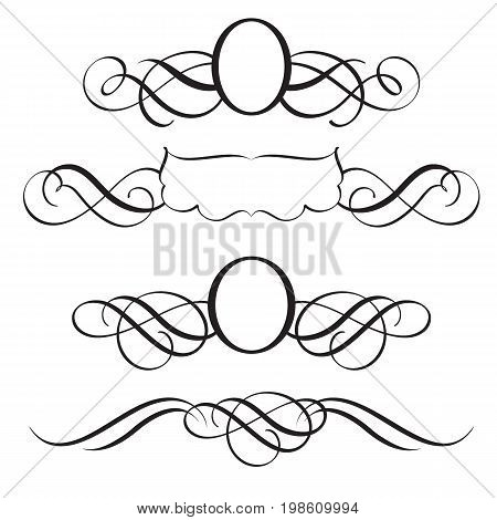 Set of Decorative Frame and Borders Art. Calligraphy lettering Vector illustration EPS10.