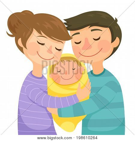 Happy young parents hugging a newborn baby