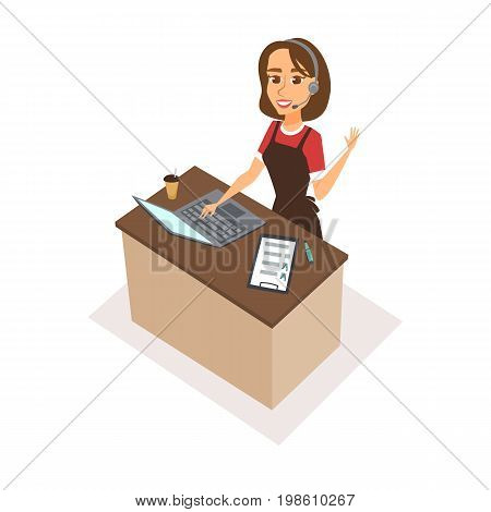Woman character receptionist with headphones, pen, checklist, laptop. Food order acceptance. Online delivery restaurant call center. Operator talk to customers, typing and waves her hand