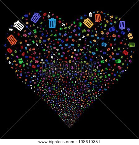 Dustbin fireworks with heart shape. Vector illustration style is flat bright multicolored iconic symbols on a black background. Object salute organized from confetti pictograms.