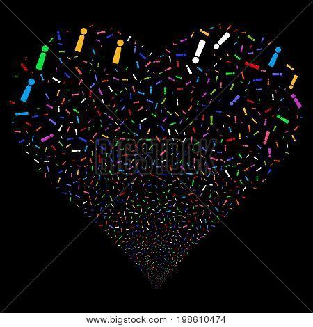 Exclamation Sign fireworks with heart shape. Vector illustration style is flat bright multicolored iconic symbols on a black background. Object heart organized from confetti pictograms.