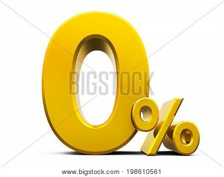 Gold zero percent sign isolated on white background three-dimensional rendering 3D illustration