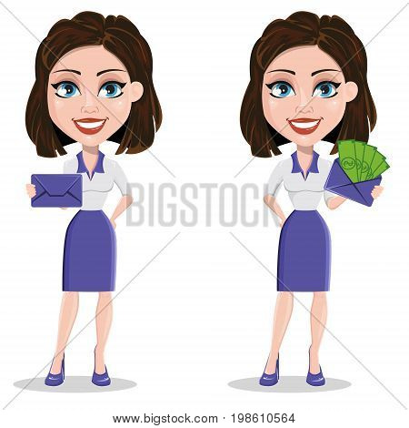 Beautiful business woman holding sealed envelope and envelope with money. Businesswoman in formal wear standing straight. Set. Vector illustration.