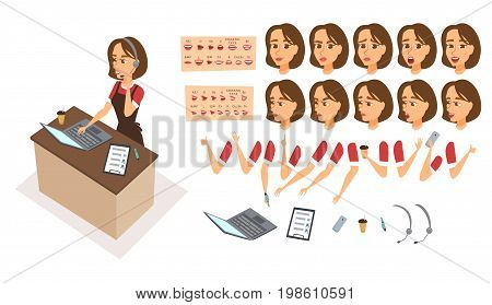 Food order acceptance. Online delivery restaurant call center. Character creation animation set. Woman operator receptionist with phone, headphones. Body parts, face expression, lips, mouse sync design