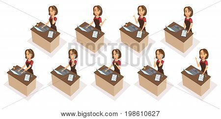 Food order acceptance. Online delivery restaurant call center. Woman character receptionist with phone, headphones, pen, checklist, laptop. Operator talk to customers, typing, writes, drink coffee