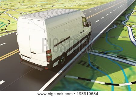Road transport. Distribution and sorting of goods. Concept of shipment and tracking system. 3D Rendering