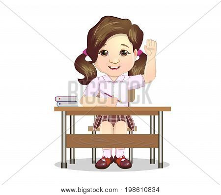 Schoolgirl Sitting Behind The Desk In School Class Raising Hand Wanting To Answer Illustration, Part Of Scholars Studying Vector Collection.