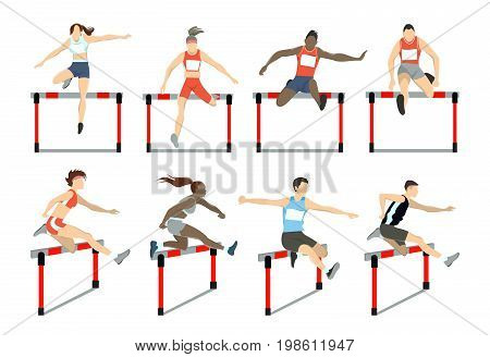 Running with barrier set. Steeplechase with women and men.