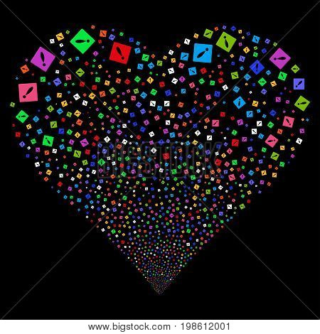 Error fireworks with heart shape. Vector illustration style is flat bright multicolored iconic symbols on a black background. Object stream constructed from confetti icons.