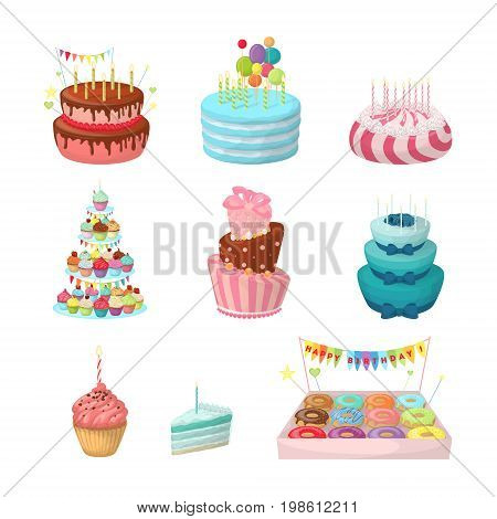 Holiday cakes set. Sweet and colorful sweets on white background.