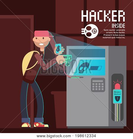 Computer safety and computer crime vector concept with cartoon hacker character. Crime and thief atm hacker illustration