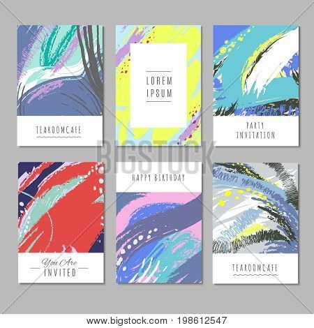 Trendy vector backgrounds with hand drawn textures and abstract shapes. Fashion decor collection of trendy colored decoration, vector illustration