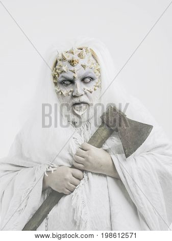 Demon With Axe In Hands On White Background