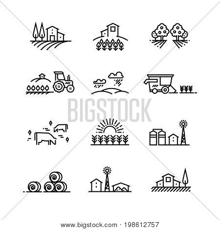 Village line landscapes with agricultural field and farm buildings. Linear farming vector concepts. Farmland and field, illustration of agriculture garden and plantation