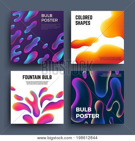 Abstract backgrounds with fluid colored shapes. Magic liquid colouring molecules vector posters. Mixing color paint bulb poster, unusual dynamic chaos fountain bulb illustration