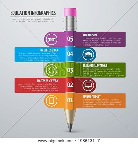 Business learning and school education vector infographic template with pencil and options. Graphic school infographic education illustration