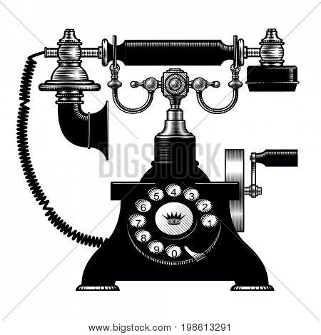 Retro black phone. Vintage engraving stylized drawing