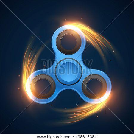 Fidget spinner with neon light spinning effect vector illustration. Spinner finger mechanism to meditation