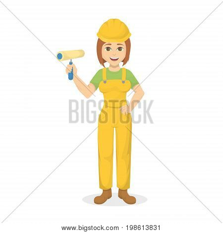 Isolated happy woman painter on white background. Smiling young girl with paintroller.