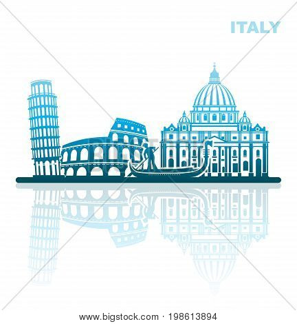 Abstract landscape of architectural landmarks of Italy