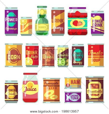 Canned goods vector set. Tinned food, conservation tomato soup and vegetables. Tin container conserve, canned tomato soup illustration