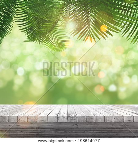 3D render of a white wooden table looking out to a defocussed background with palm tree leaves