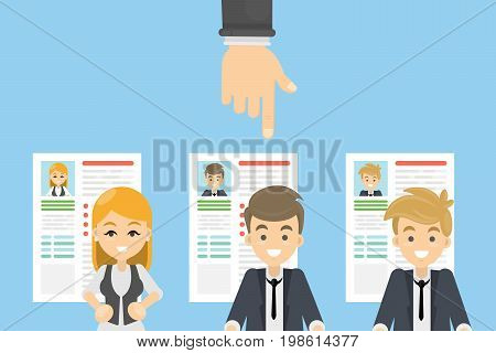 Hiring the candidate. Hand points at the new candidate. Staff with resume.