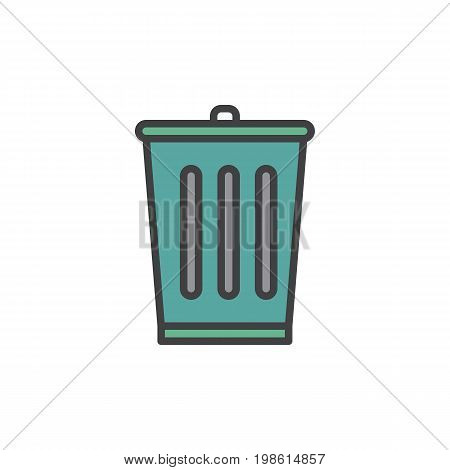 Trash bin filled outline icon, line vector sign, linear colorful pictogram isolated on white. Delete symbol, logo illustration. Pixel perfect vector graphics