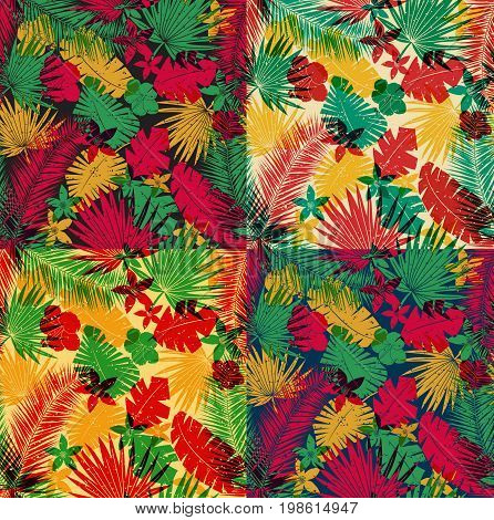 A set of seamless tropical jungle pattern with leaves, plants and flowers. Retro offset print effect, color overlay, anaglyph. Hibiscus, ferns and tropical foliage.