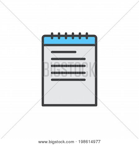 Note, notebook filled outline icon, line vector sign, linear colorful pictogram isolated on white. Symbol, logo illustration. Pixel perfect vector graphics