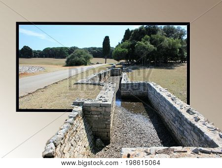 Roman remains in Verige Bay, national park Brioni, Croatia in out of bounds effect