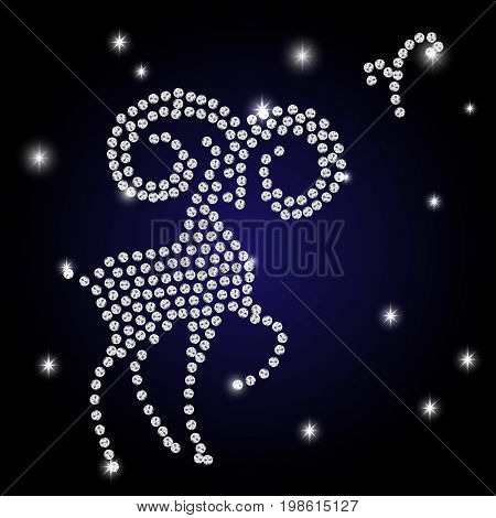 Sign of the zodiac Aries is the starry sky vector Illustration. Contour icon.