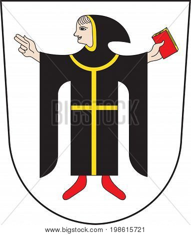 Coat of arms of Munich is the capital and largest city of the German state of Bavaria on the banks of River Isar north of the Bavarian Alps. Vector illustration from the